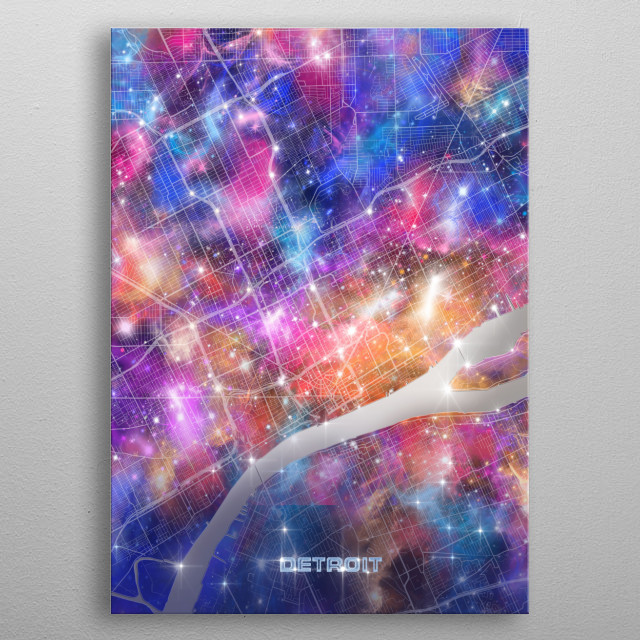 Detroit city map inspired by decorative,colorful,universe,galaxy,nebula,pop art design metal poster