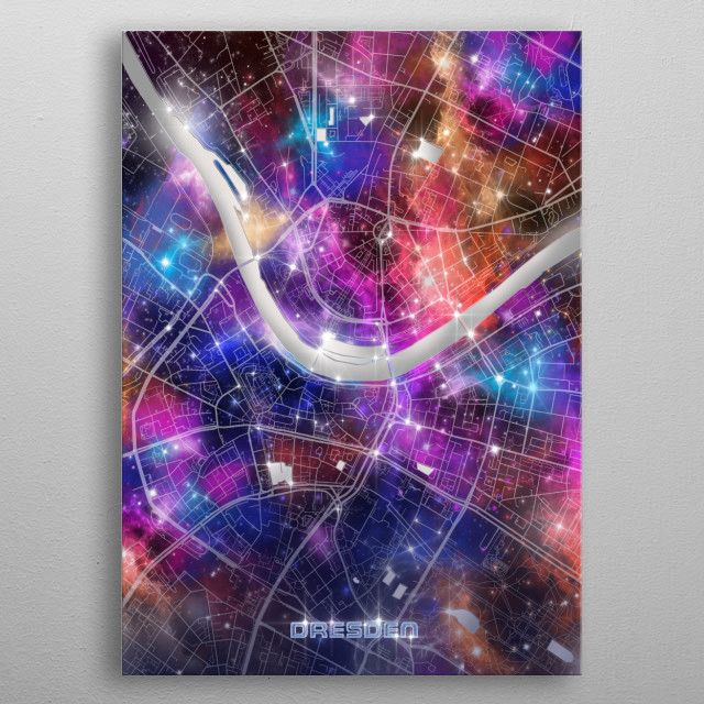 Dresden city map inspired by decorative,colorful,universe,galaxy,nebula,pop art design metal poster