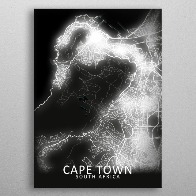 Cape Town, South Africa, LED Glow City Map metal poster