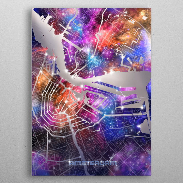 Amsterdam city map inspired by decorative,colorful,universe,galaxy,nebula,pop art design metal poster