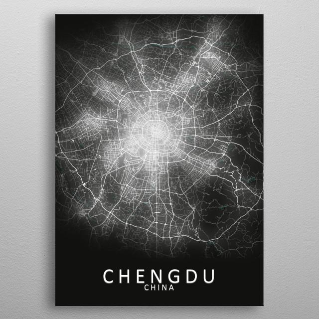 Chengdu, China,  LED Glow City Map metal poster