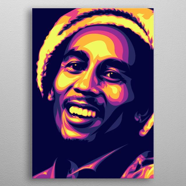 The legend of Reggae genre music in pop art. metal poster