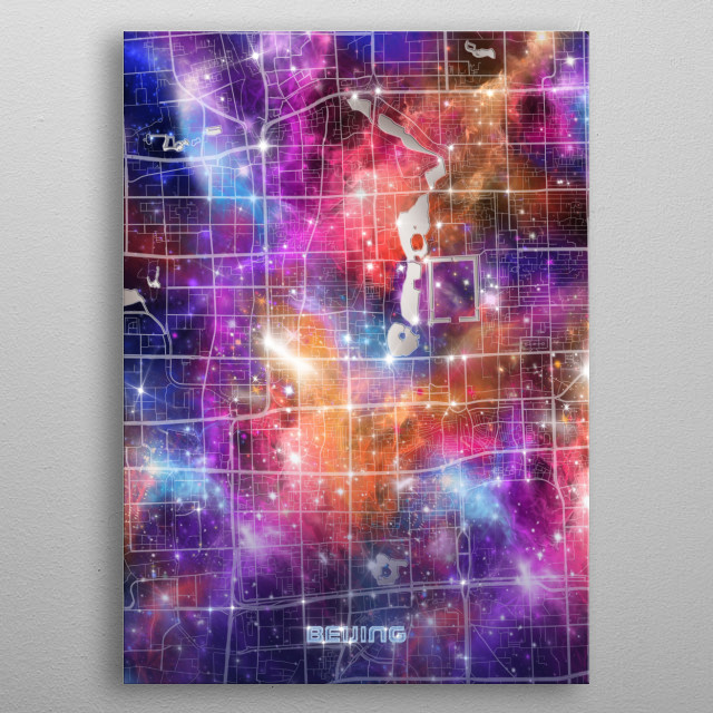 Beijing city map inspired by decorative,colorful,universe,galaxy,nebula,pop art design metal poster