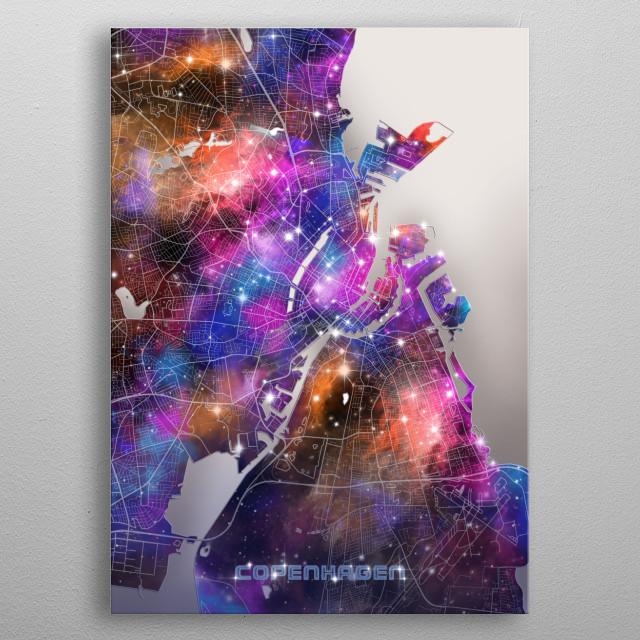 Copenhagen city map inspired by decorative,colorful,universe,galaxy,nebula,pop art design metal poster