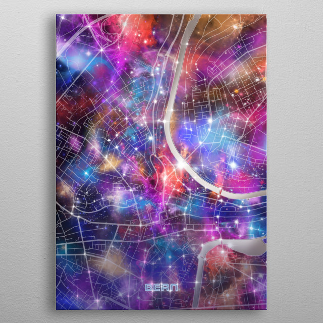Bern city map inspired by decorative,colorful,universe,galaxy,nebula,pop art design metal poster