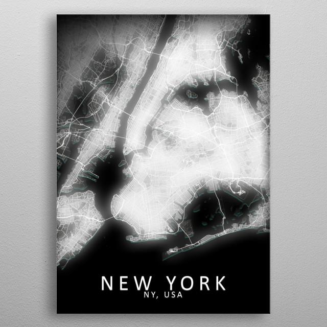 New York, NY, USA,LED Glow City Map metal poster