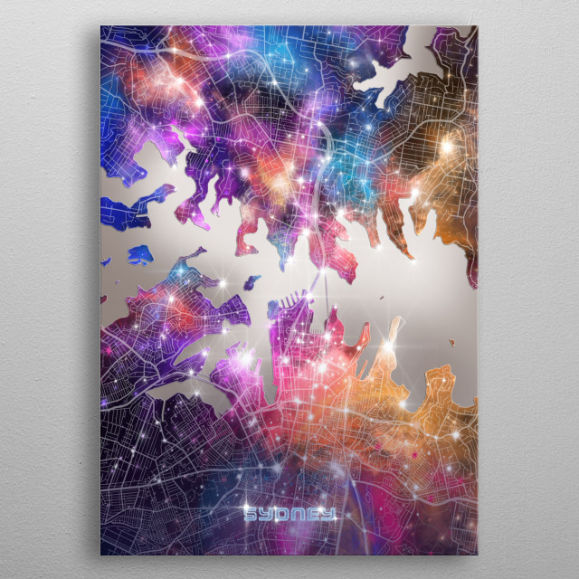 Sydney city map inspired by decorative,modern,galaxy,cosmos,universe,colorful,pop art design metal poster