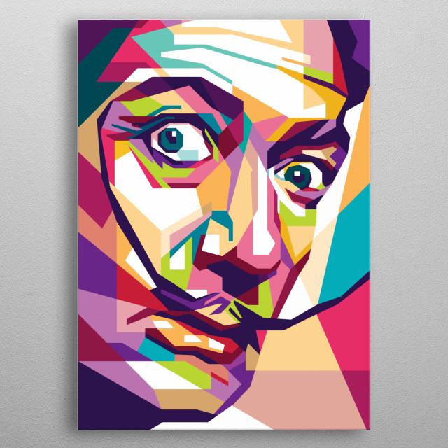 salvador dali on wpap vector pop art full color metal poster