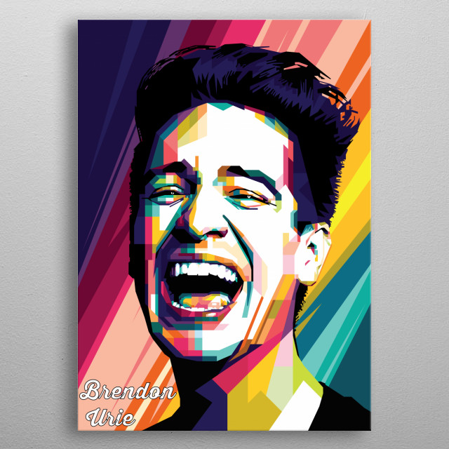 Pop Art of Brendon Urie, is an American singer, best known as the lead vocalist of Panic! at the Disco, in WPAP style metal poster