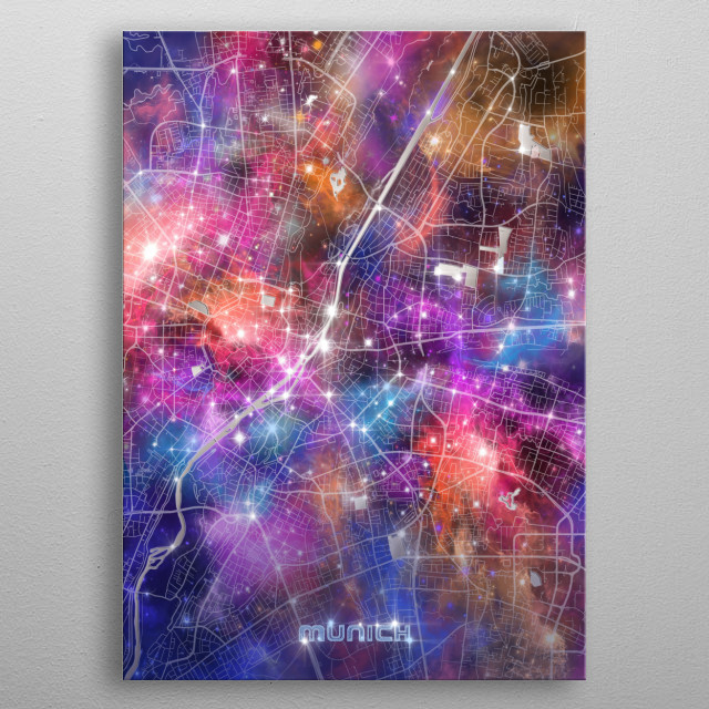 Munich city map inspired by decorative,modern,galaxy,cosmos,universe,colorful,pop art design metal poster
