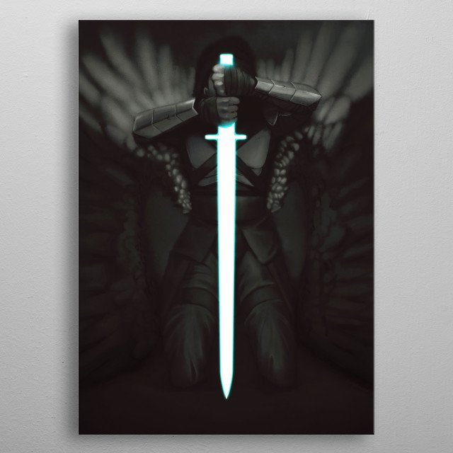 An illustration of a partially armor-clad winged man kneeling, leaning into a large sword pointed into the ground. metal poster