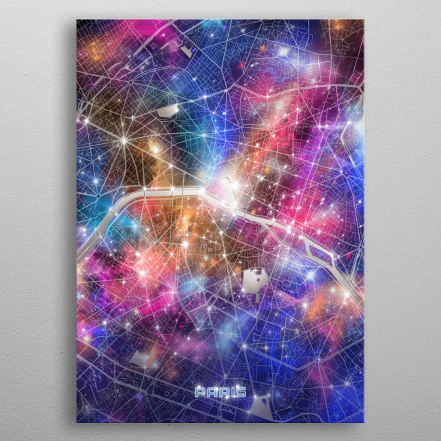 Paris city map inspired by decorative,modern,galaxy,cosmos,universe,colorful,pop art design metal poster