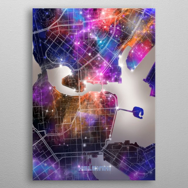 Helsinki city map inspired by decorative,modern,galaxy,universe,cosmos,colorful,pop art design metal poster
