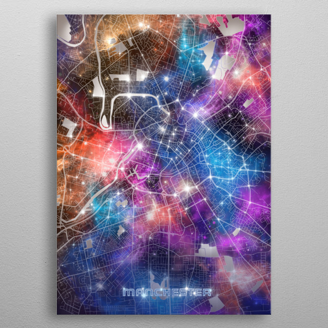 Manchester city map inspired by decorative,modern,galaxy,universe,cosmos,colorful,pop art design metal poster