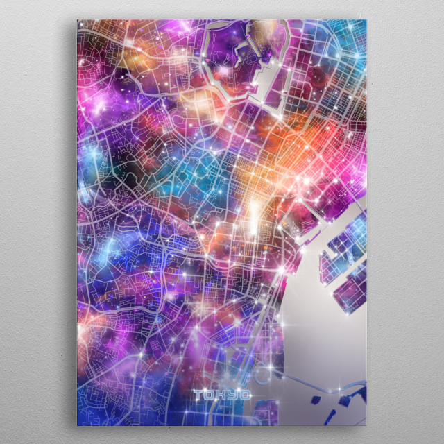 Tokyo city map inspired by decorative,modern,galaxy,cosmos,universe,colorful,pop art design metal poster