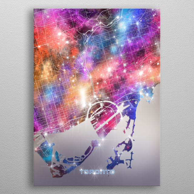Toronto city map inspired by decorative,modern,galaxy,cosmos,universe,colorful,pop art design metal poster