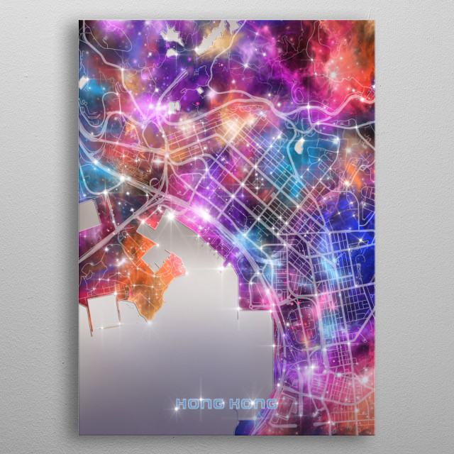 Hong Kong city map inspired by decorative,modern,galaxy,universe,cosmos,colorful,pop art design metal poster