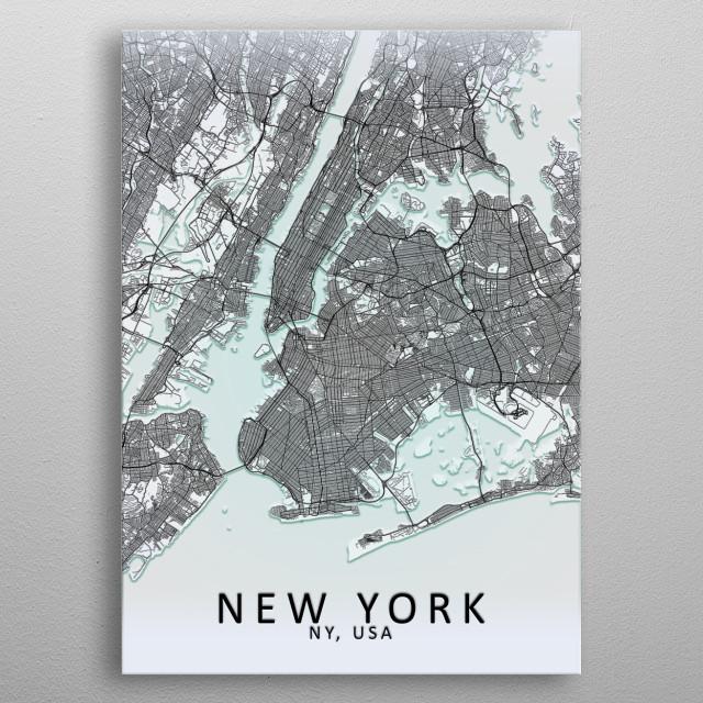 New York, NY, USA,White City Map metal poster