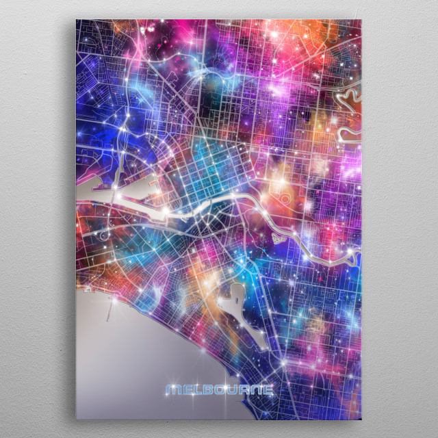 Melbourne city map inspired by decorative,modern,galaxy,universe,cosmos,colorful,pop art design metal poster