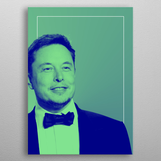 Technological guru, Elon Musk, masked in a duotone gradient metal poster