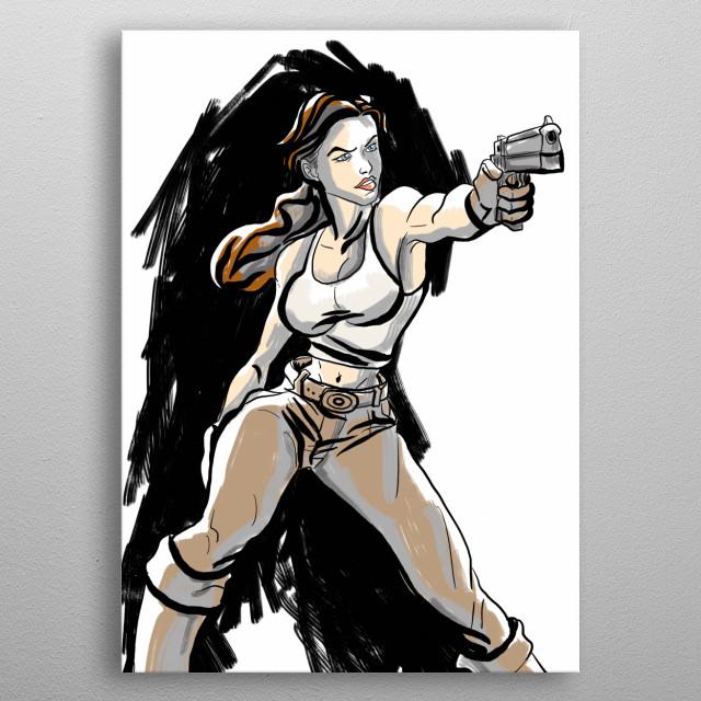 Original comic character wielding a gun metal poster