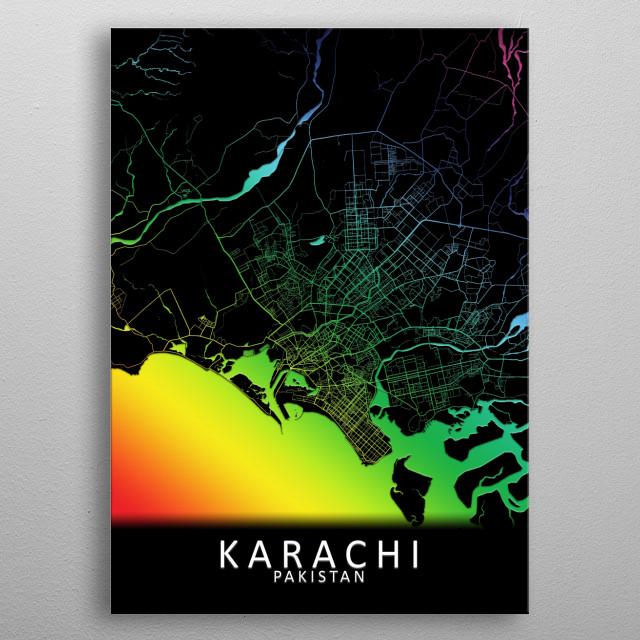 Karachi Rainbow City Map by City Map Art Prints | metal