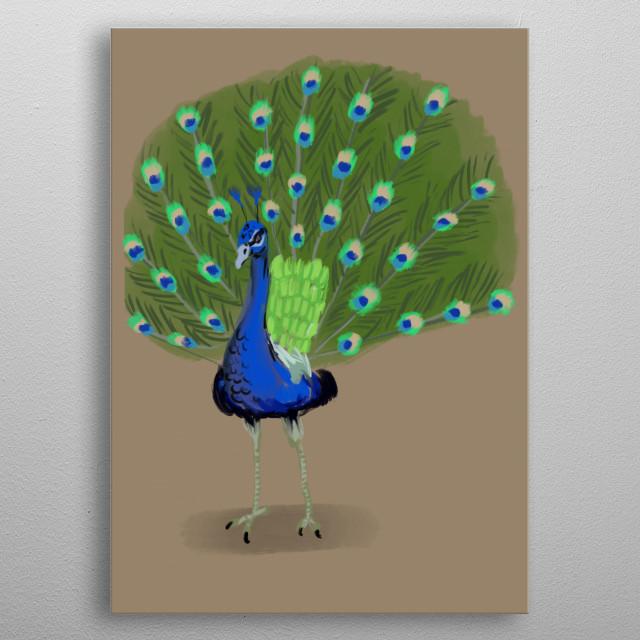 A glamorous peacock metal poster