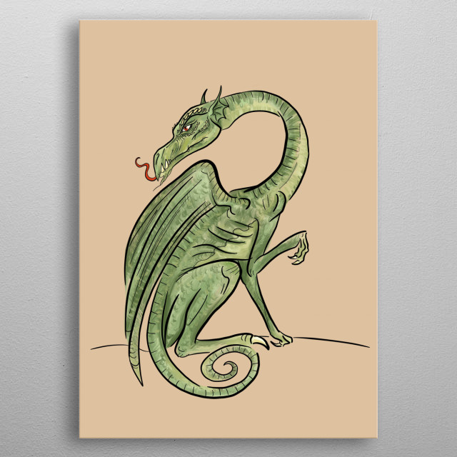 A fantastical stylized drawing of a green dragon metal poster