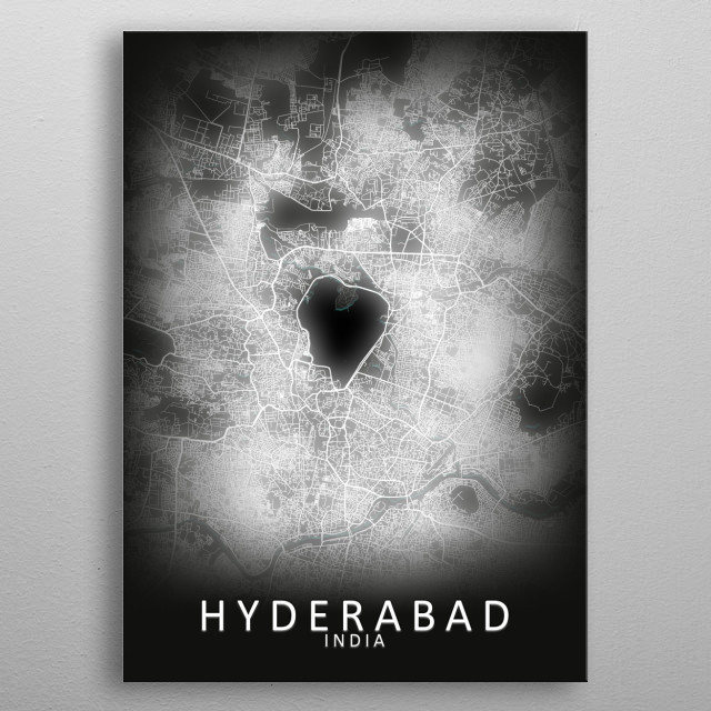 Hyderabad, India,LED Glow City Map metal poster