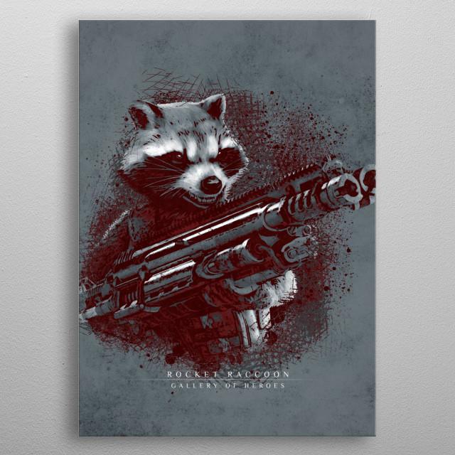 Tribute Rocket Raccoon infinity war metal poster