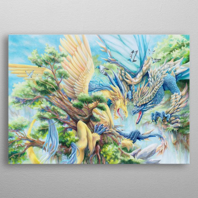 Two dragons, one territory. Which is going to claim it? A3 || Copic markers metal poster