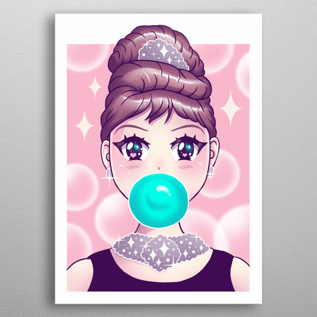 Kawaii bubble gum is a new take on the fashion icon Audrey Hepburn as kawaii. metal poster