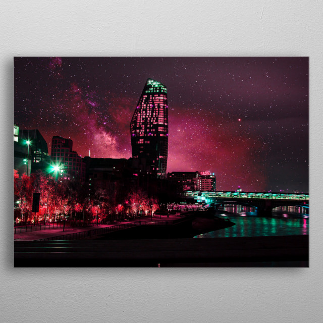 One Blackfriars in Neon with a fantasy, dreamscape, starry night sky background. metal poster
