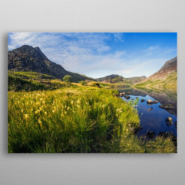 Llyn Ogwen and Tryfan at Dawn  Tryfan is a mountain in the Ogwen Valley, Snowdonia, Wales.  metal poster