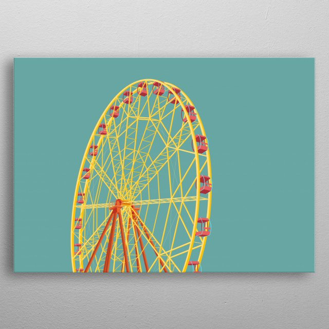 Exclusive vector art of architectural constructions. Merry-Go-Round on the background of the day sky.  metal poster