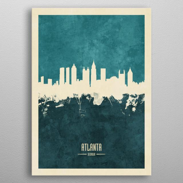 Watercolor art print of the skyline of Atlanta, Georgia, United States metal poster