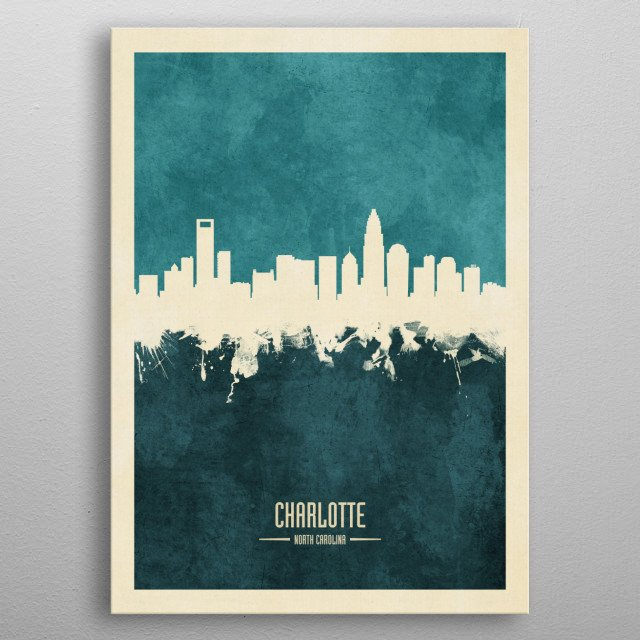 Watercolor art print of the skyline of Charlotte, North Carolina, United States metal poster