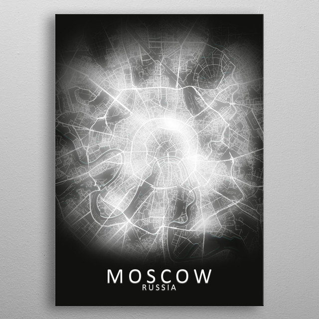 Moscow, Russia, LED Glow City Map metal poster
