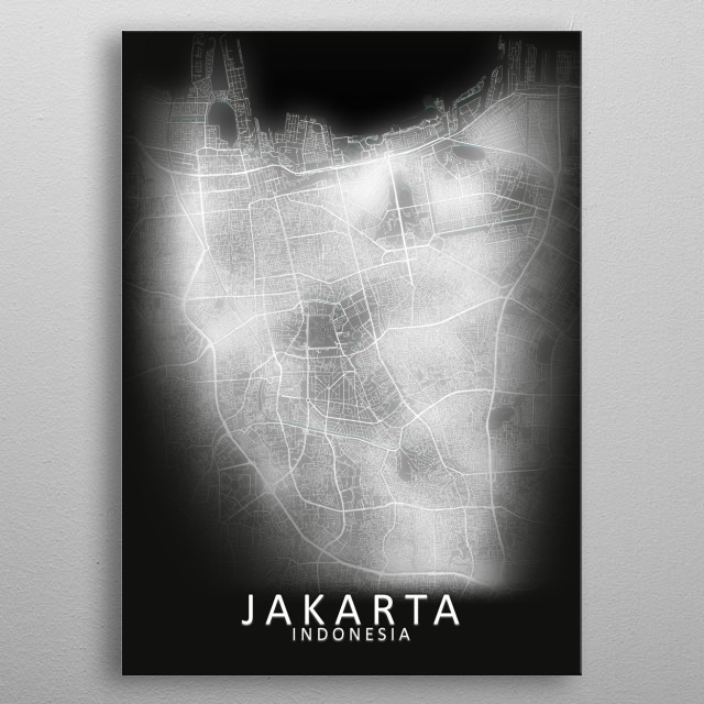 Jakarta, Indonesia, LED Glow City Map metal poster