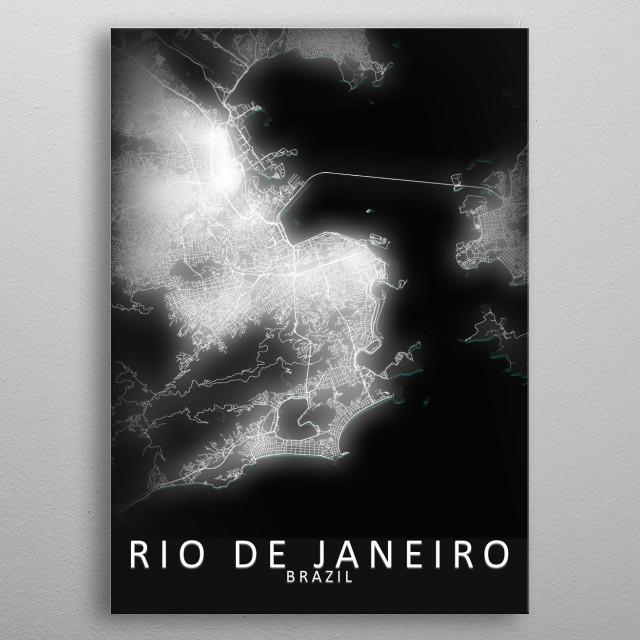 Rio de Janeiro, Brazil,LED Glow City Map metal poster