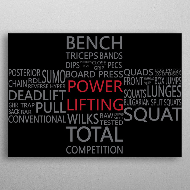 Many of the words that represent the blood, sweat, and tears that go into a Powerlifting Total.  metal poster
