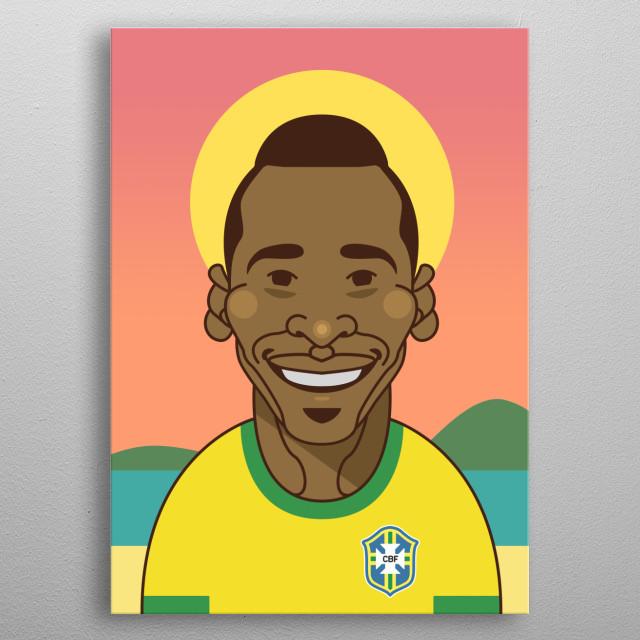 The legendary Pele of Brazil on Copacabana. metal poster