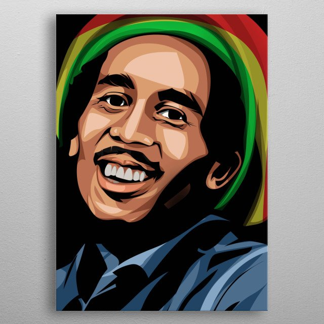 Bob Marley Portrait Vector Art metal poster