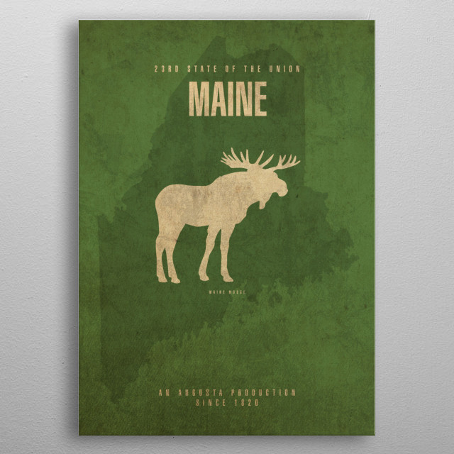 Maine State Facts metal poster