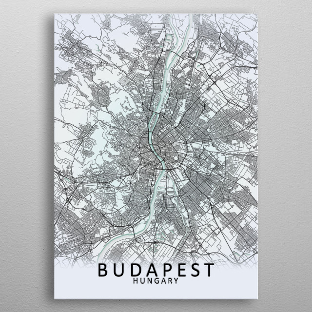 Budapest, Hungary, White City Map metal poster