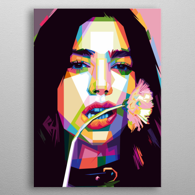 "The Famous Singer ""Dua Lipa"" in WPAP style metal poster"