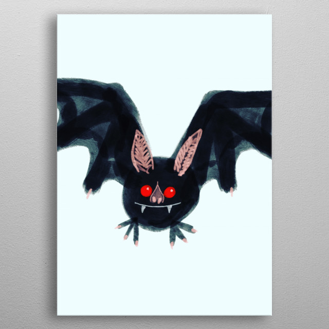 A slightly creepy yet cute bat metal poster