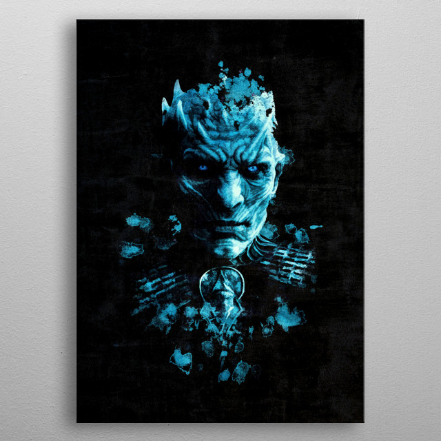 Night King portrait with splatter painting and grunge effect. This will be great gift for Game of Thrones TV Series fans. metal poster