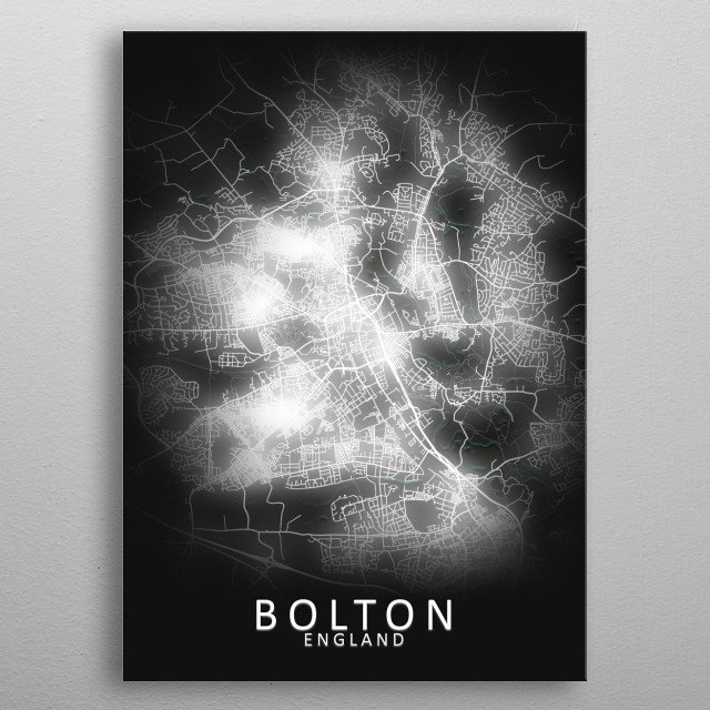 Bolton, England,LED Glow City Map metal poster