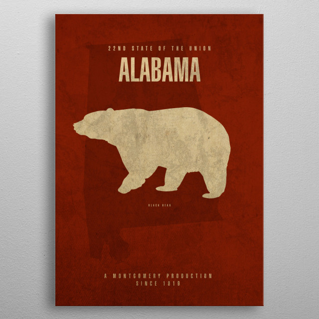 Alabama State Facts metal poster